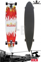 Krown - Red White Flame Pintail Longboard Complete