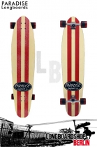 Paradise Longboard Kicktal red/white stripes